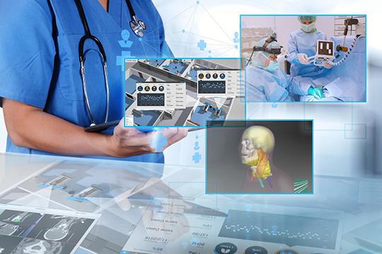 Der digitale Leitstand bereitet alle digital zur Verfügung stehenden Informationen über Station und Patienten visuell auf.  (© Fraunhofer IGD - everythingpossible/Fotolia)