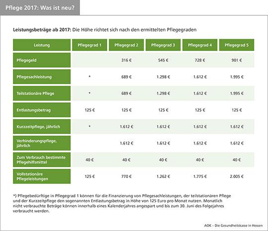 Leistungsbeiträge ab 2017: Die Höhe richtet sich nach den ermittelten Pflegegraden