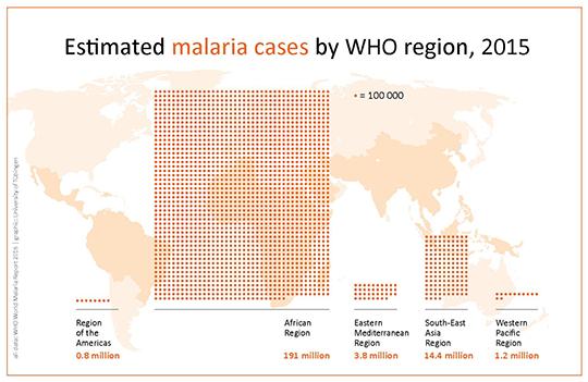 Geschätzte Malaria-Fälle weltweit im Jahr 2015 © Universität Tübingen