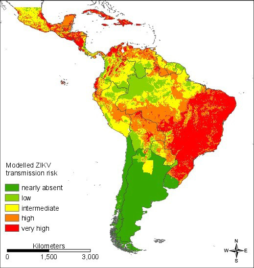 Abbildung 1: Modelliertes Risiko, sich mit dem Zika-Virus zu infizieren, für Südamerika. ©Prof. Dr. Sven Klimpel, Institut für Ökologie